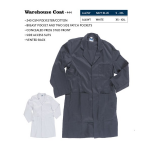 Lab Coat / Warehouse Coat (XS - 2XL = 32-54)